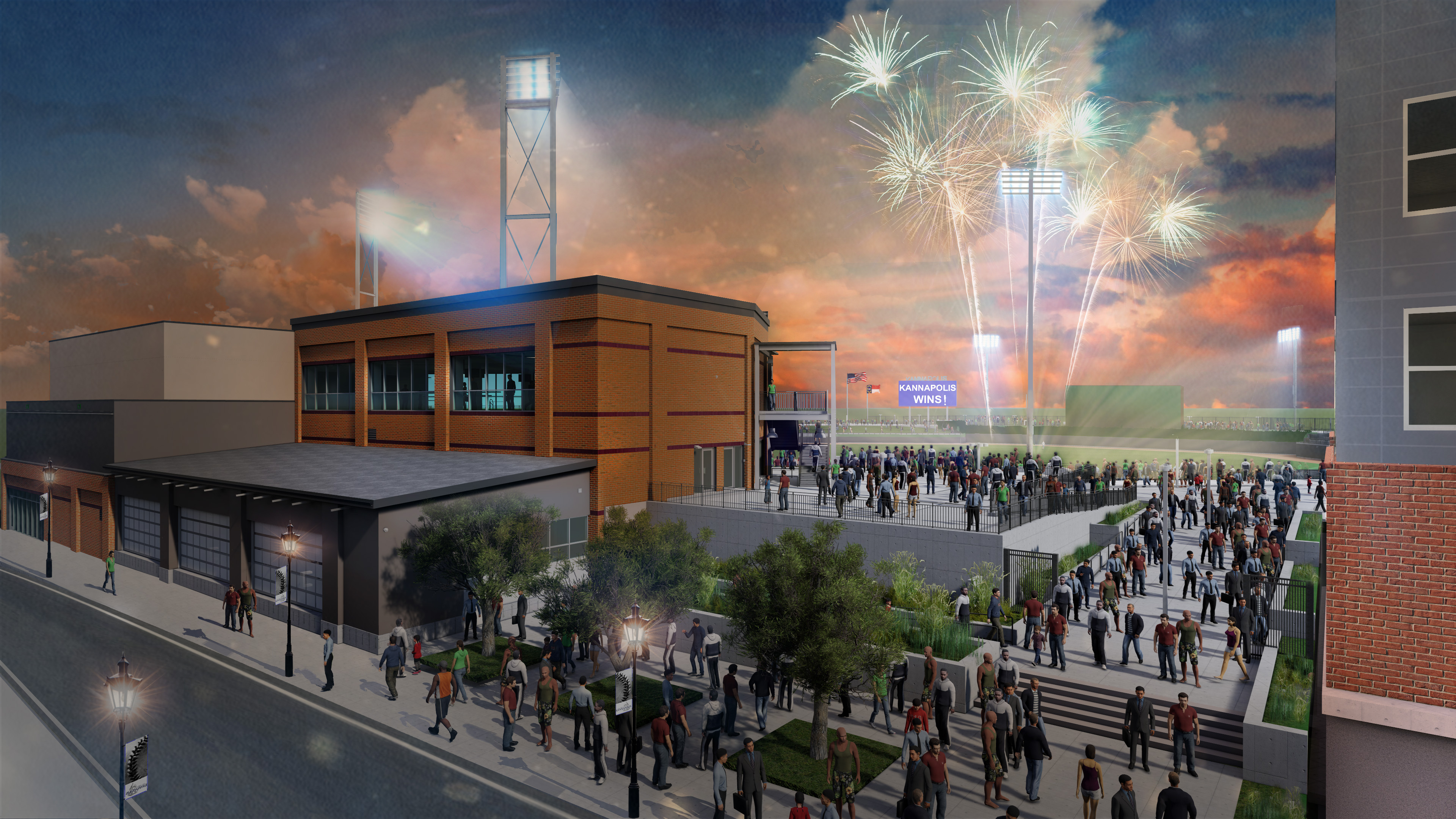A rendering of the Kannapolis ballpark under construction on the site of a former textile mill. Officials expect the new home for the Kannapolis Cannon Ballers to open in April 2020. Courtesy Kannapolis.
