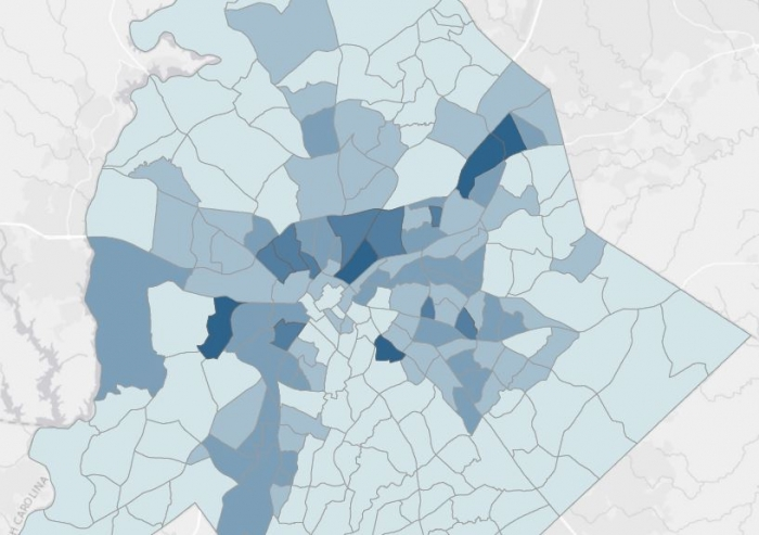 Mecklenburg County poverty rates, by census tract. To see full map, scroll below. Map: Zach Szczepaniak
