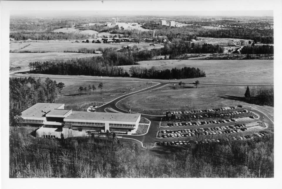 """The UNC Charlotte campus in 1969 was outside the city limits, on what was recently farmland, and far more rural than urban. It was an audacious location to found an """"urban institute."""" Photo: UNC Charlotte archives"""