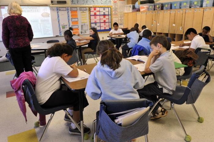 CMS public elementary school classroom. Photo by Nancy Pierce