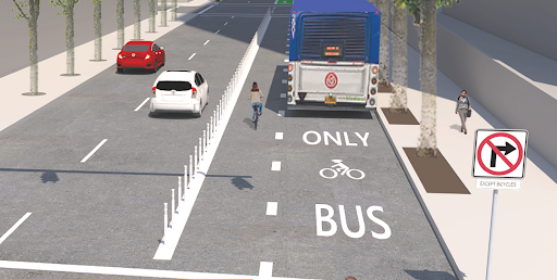Artist's rendering of how a bus-only lane might look in Charlotte. Image: Portland Bureau of Transportation.