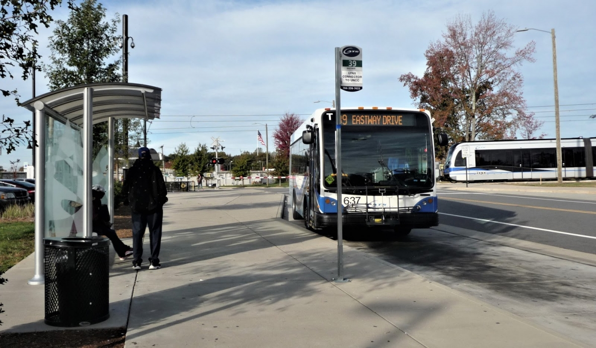 #The 39 cross-town bus transfer at the Old Concord Road light rail station. Photo: Martin Zimmerman