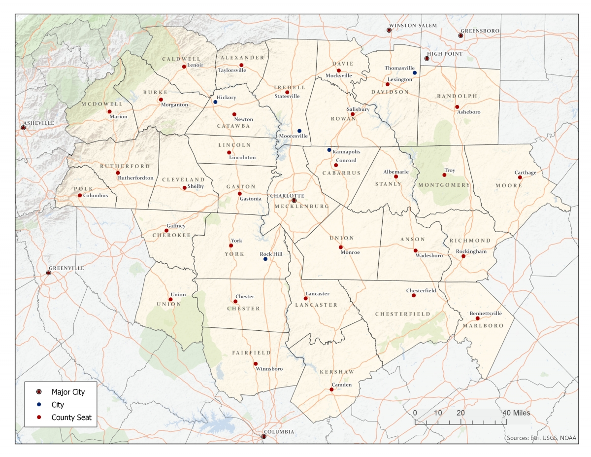 The 32-county Carolinas Urban-Rural Connection project study area.