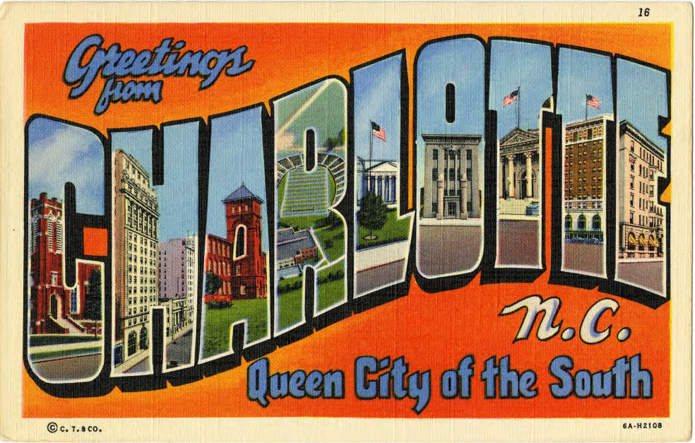 A vintage Charlotte postcard. Photo: Atkins Library, special collections.
