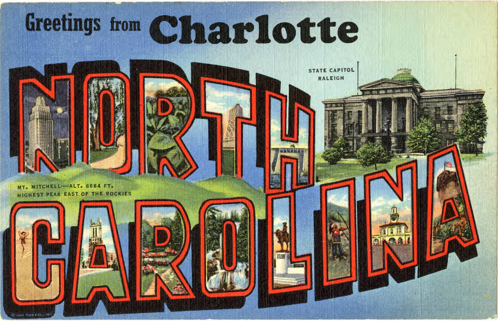 A vintage postcard for Charlotte features landmarks from other parts of the state, including Raleigh. Photo: Atkins Library, special collections.