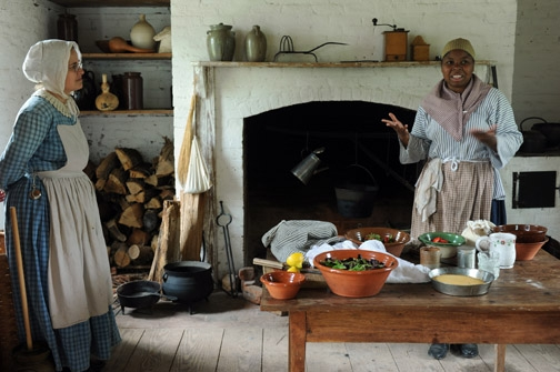Historic Brattonsville, part of Culture and Heritage Museum of York County . Living history exhibit: Cooking.
