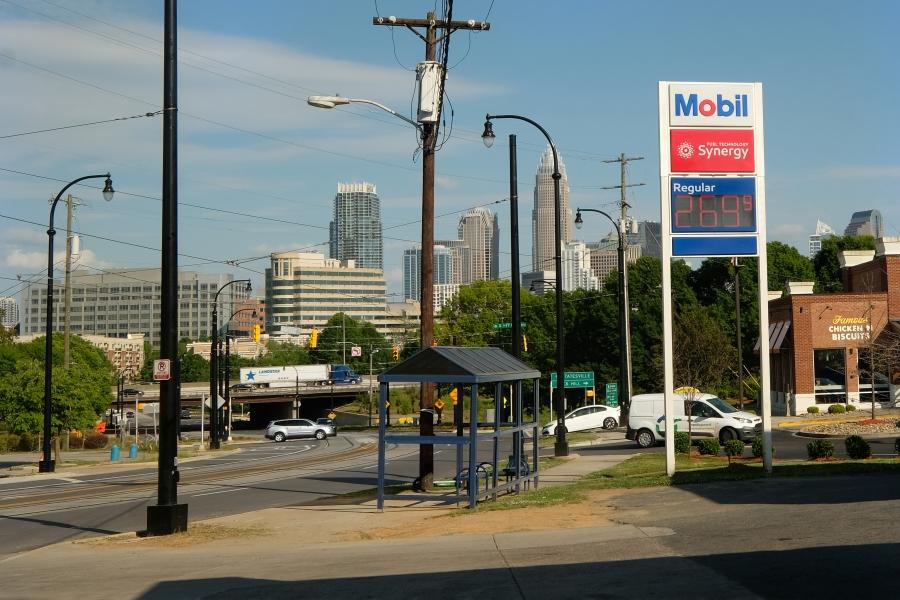 Charlotte skyline and transit