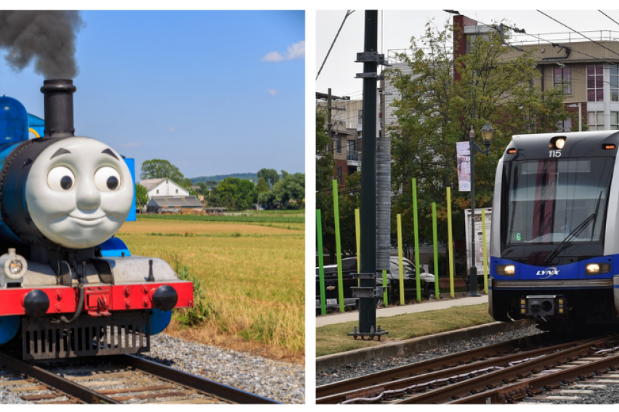 Thomas the Tank Engine and a Blue Line train in Charlotte