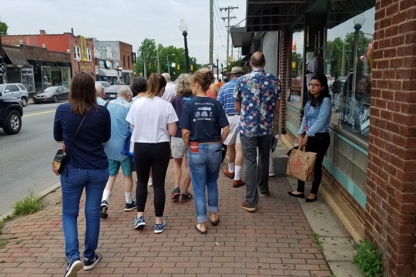 Historian Tom Hanchett leads a tour of Plaza Midwood in Charlotte. Photo: Angelique Gaines.