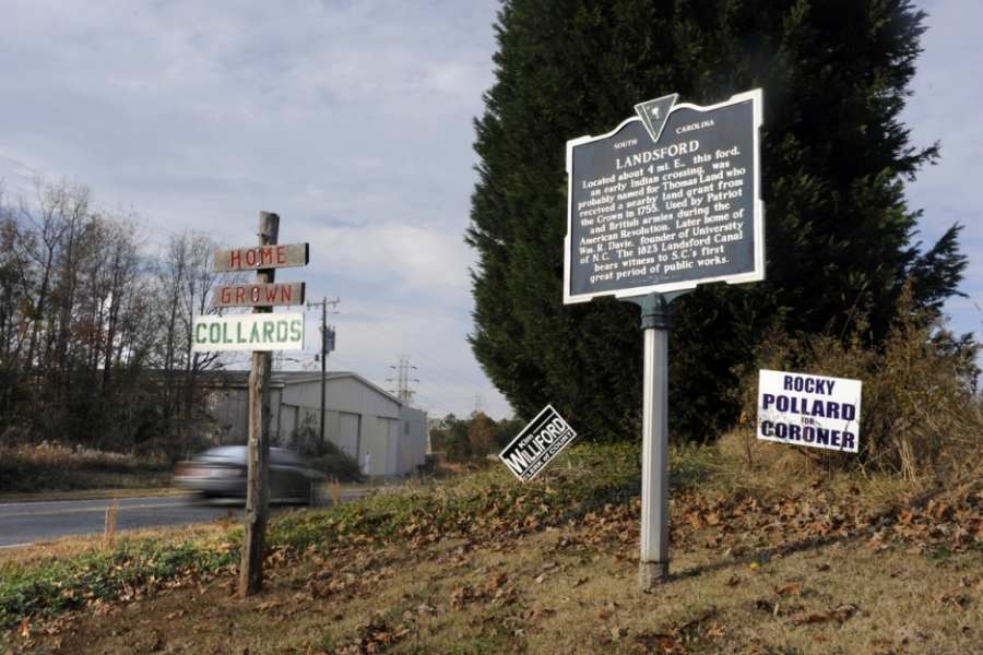 U.S. 21 and Landsford Canal Road, Chester County, S.C.: As the historic marker describes, Landsford was an early ford on the Catawba, probably named for Thomas Land, who received a nearby land grant from the Crown in 1755.