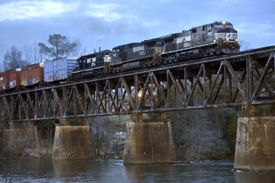 Nation Ford crossing, Catawba River, Norfolk Southern trestle: At the Nation Ford crossing, granite shoals provided firm footing for horses and wagons to cross the river. The railroad bridge was built in 1852, burned by Union forces in 1865, rebuilt, destroyed by 1916 floods and rebuilt again. The ford, 2 miles south of today's U.S. 21, was the scene of the last conflict and treaty between the Cherokee and the Catawba tribes. In 1780 Lord Cornwallis camped and crossed here.