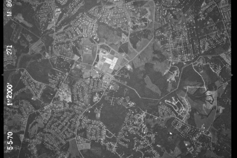 SouthPark Mall in 1970. Photo: NCDOT aerial imagery archive.