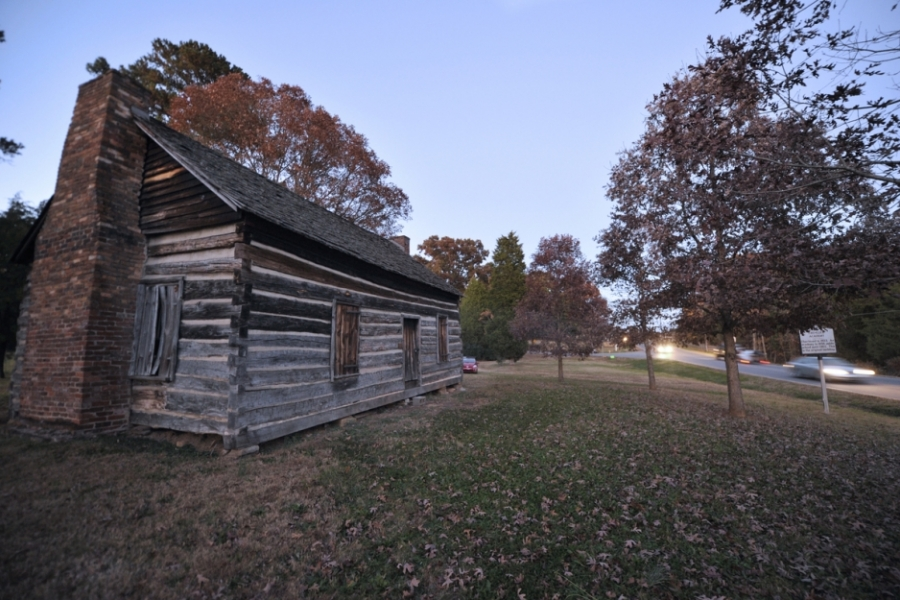 Turnersburg Highway (U.S. 21) and Bethany Road north of Statesville: Ebenezer Academy, chartered in 1823 and used as a school until 1903. Built in the half dovetail log cabin style, this is the original building, heavily restored. Inside can be found mottos for good behavior carved into the original wood.