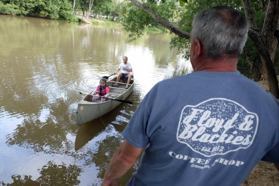 Floyd &  Blackie's and the Floating Goat Canoe & Kayak Rental owner Greg Ramsey, in Cramerton. Photo: Nancy Pierce.