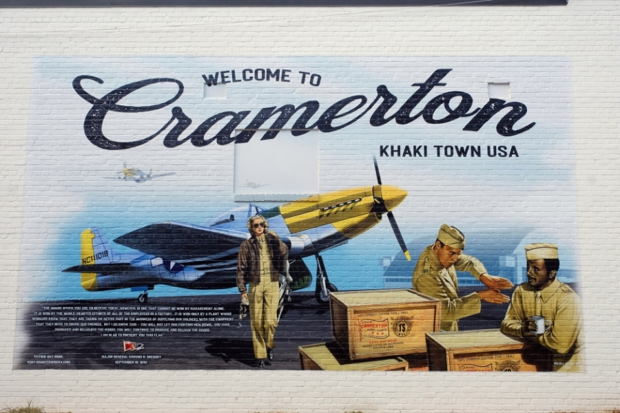 """Cramerton takes pride in its history of producing """"Army khaki"""" for U.S. military uniforms during World War II. Photo: Nancy Pierce."""