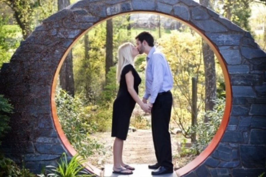 """Amanda Powers  """"We were students at UNCC when we were engaged and thought it [UNC Charlotte Botanical Garden] was the most beautiful and meaningful place to have our photos done."""" Photo: Amanda Powers"""