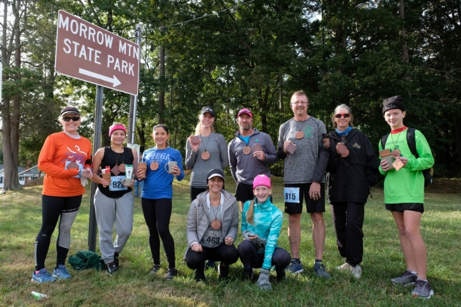 Participants in Run The Valley Half Marathon on October 19 ran from downtown Badin to the top of Morrow Mountain and back. The event was part of 10 Days of Uwharrie outdoor festival. Photo: Nancy Pierce