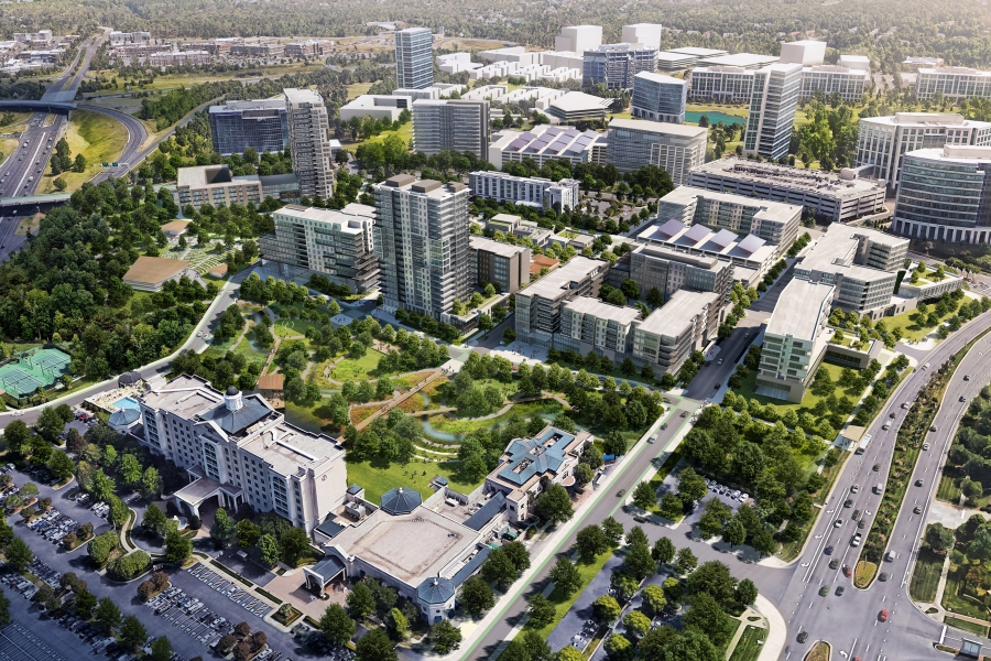 """Rendering of """"Ballantyne Reimagined,"""" the planned redevelopment of Ballantyne Corporate Park to add shops, restaurants, apartments and amenities to the office park. Rendering: Northwood Office."""