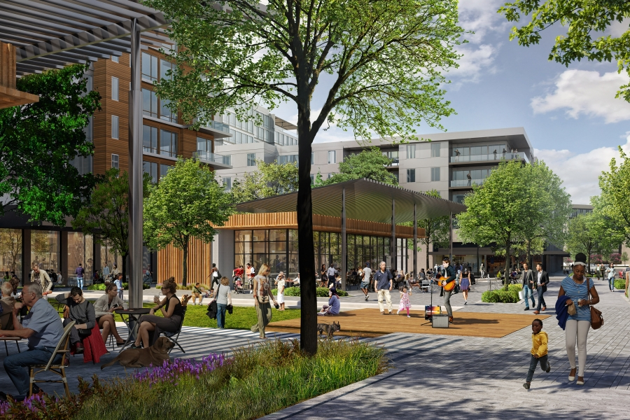A rendering of the planned redevelopment of Ballantyne Corporate Park, adding apartments, shops, restaurants and amenities in place of parking lots and a golf course. Rendering: Northwood Office.