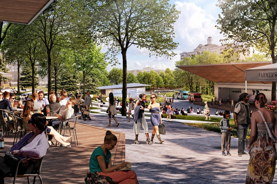 """Rendering of a planned new """"main street""""-style center of retail and residential areas in Ballantyne Corporate Park. Rendering: Northwood Office."""
