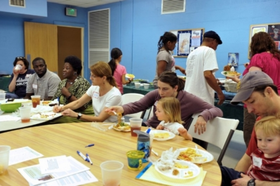 Belmont neighborhood association president Vicki Jones, fourth from left, at a get-to-know-your-neighbor event.