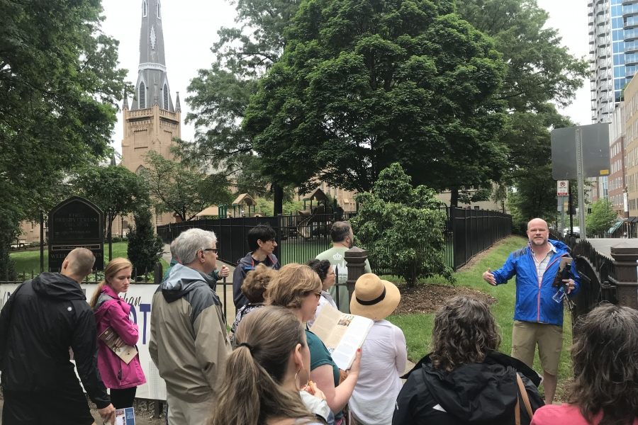 """Charlotte's Revolutionary War History as a """"hornet's nest"""" was on display in the Liberty Walks tour. Photo: DeNay Adams."""