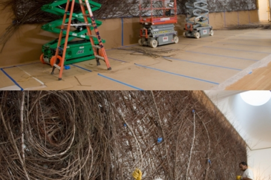 """""""Picking up a stick and bending it seems to give me big ideas."""" Patrick Dougherty at work on his Out of the Box (2009) semi-permanent sculpture of maple saplings in the North Carolina Museum of Art café, in Raleigh. Photos: courtesy of NCMA"""