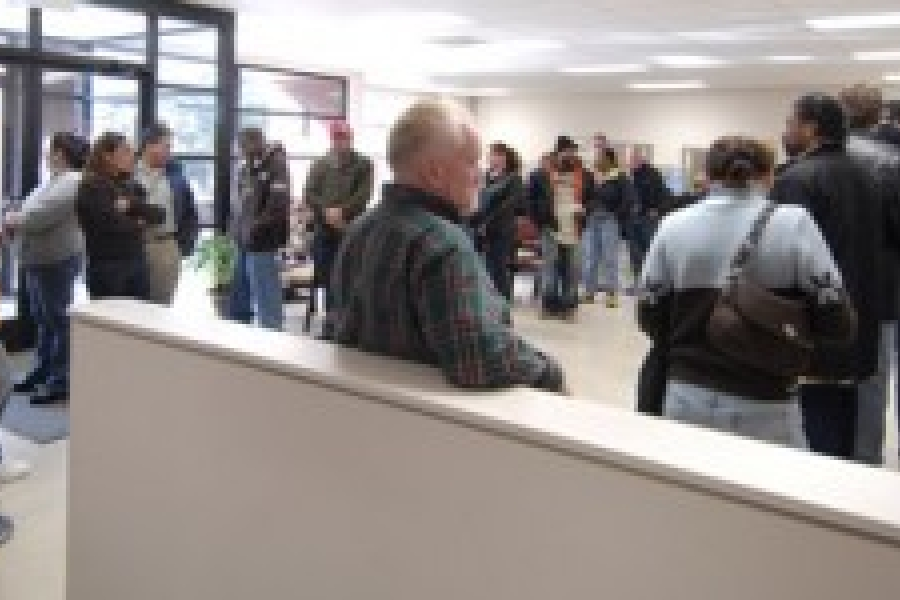 Waiting in line at the NC Employment Security Office in Charlotte.