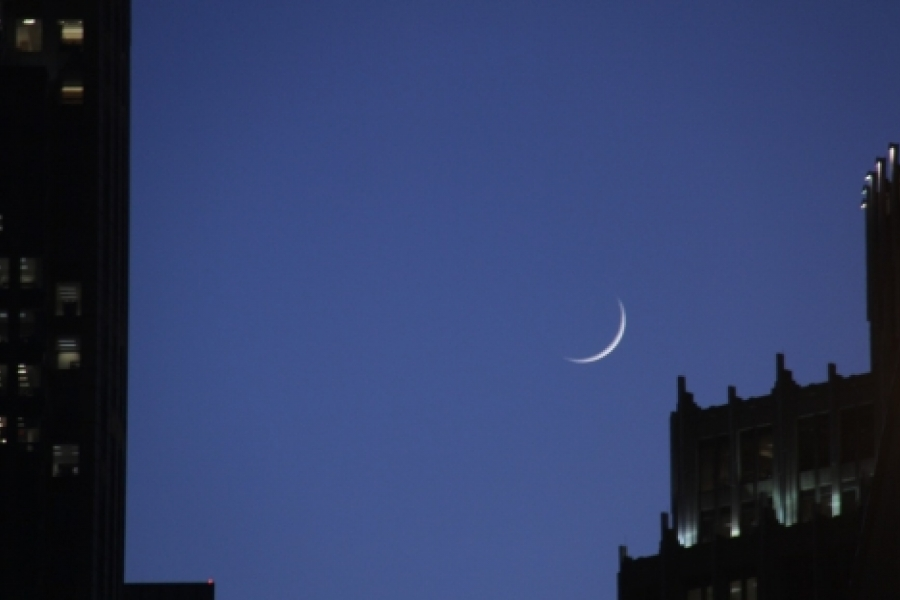 Another winner by Kevin Beaty  Crescent moon over uptown Charlotte. See article below for more description. Photo: Kevin J. Beaty