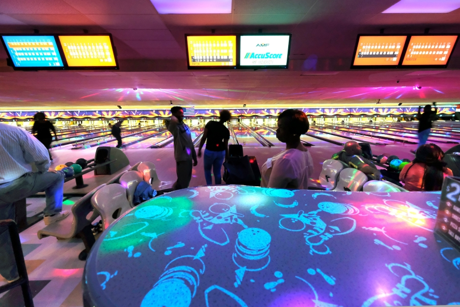AMF University Lanes, between the Old Concord Road Station and the Tom Hunter Station, was built in 1960 as a bowling and roller skating venue. Today it hosts bowling leagues, family bowling nights and UNC Charlotte fraternity and sorority parties. Photo: Nancy Pierce