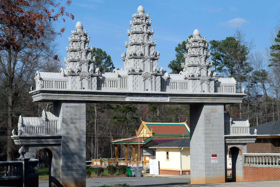 Just south of the Tom Hunter Station, the entrance to the Cambodian Buddhist Temple on Owen Boulevard is visible from the train. Photo: Nancy Pierce