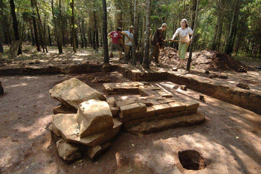 UNCC Archaeology students backfill the site of the William R. Davie dig in Chester County, SC.