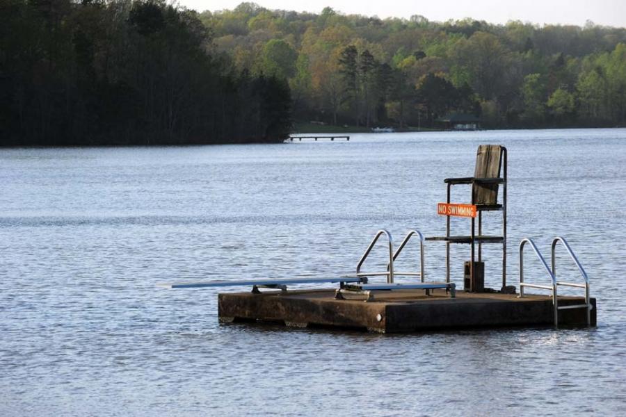 The reservoir for Kings Mountain John H. Moss Lake.