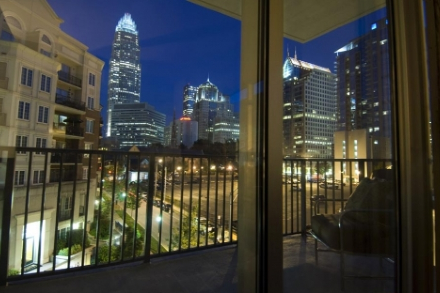 The Vue. View of uptown at night from the living room and deck.