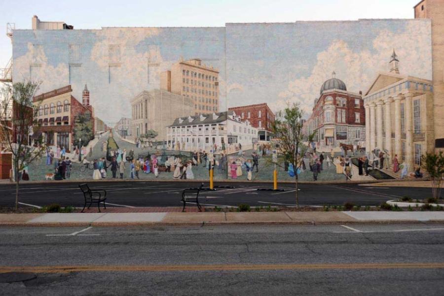 "Salisbury mural, ""Crossroads: Past and Present,"" by Salisbury native Cynvia Arthur-Rankin."