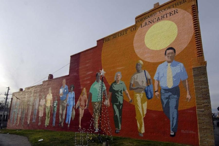 Bicentennial-era mural in downtown Lancaster, S.C.
