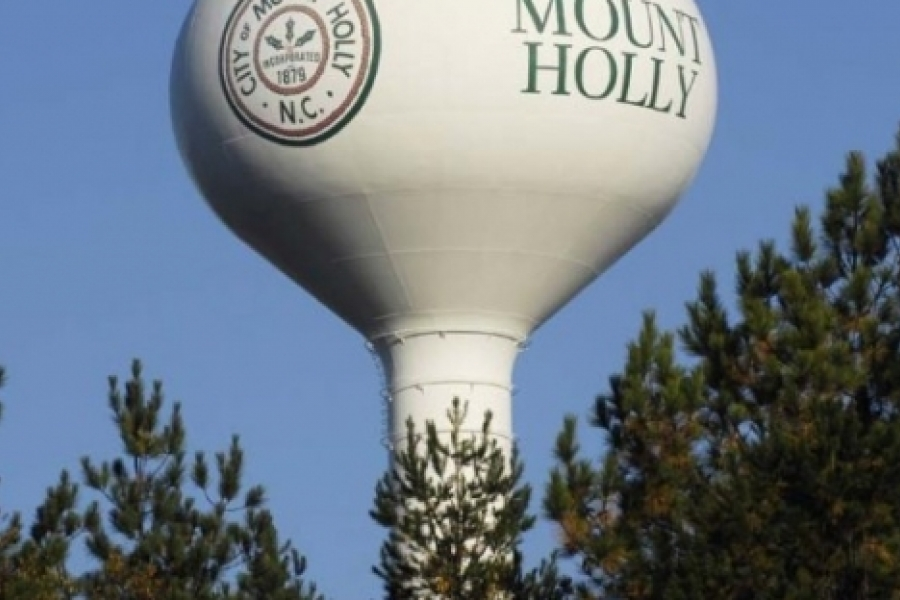 Mount Holly's tank is visible from I-85 in Gaston County.