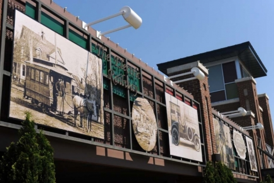 Iconic parking deck near downtown Rock Hill, includes art and historic photos.