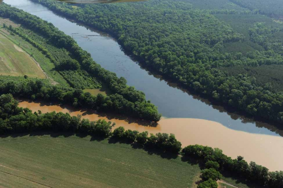 The confluence of the Rocky River (brown) and Pee Dee River.
