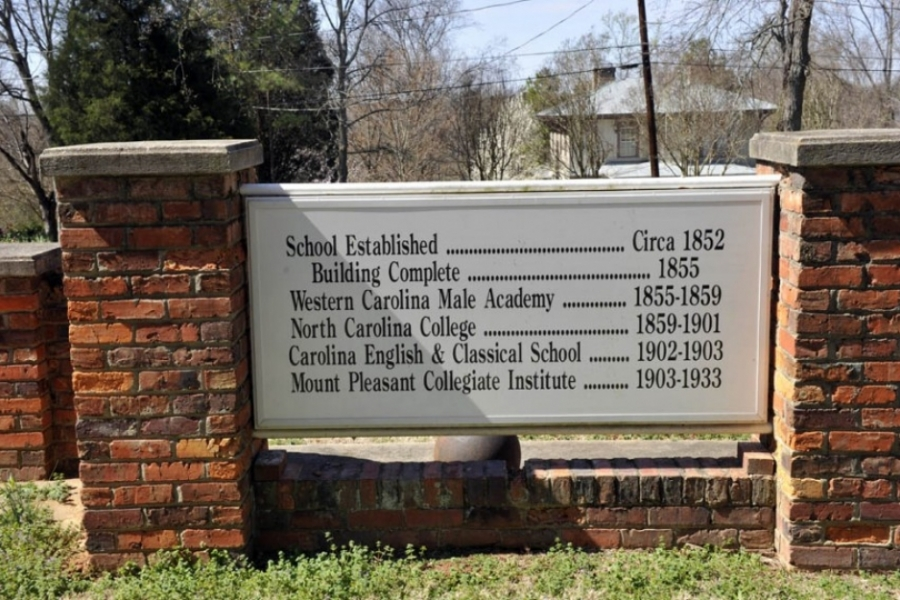 Sign showing previous uses of the Western Carolina Male Academy.
