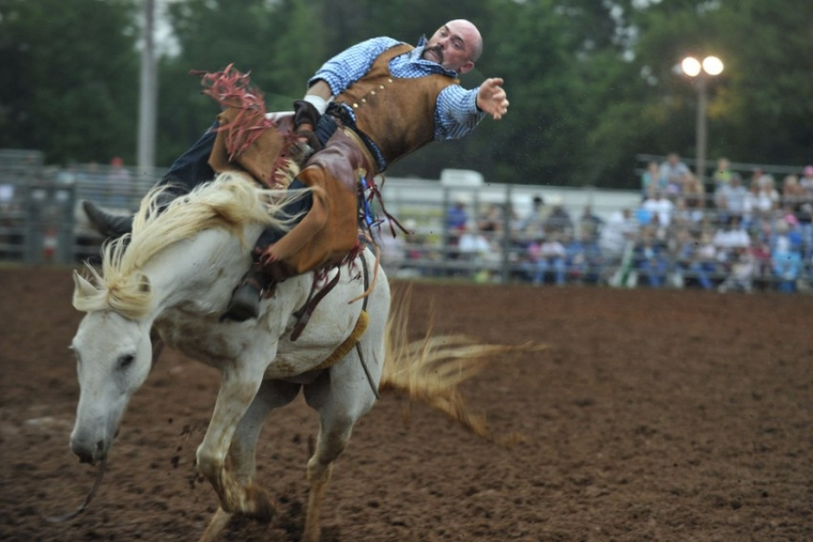 The Polkville Rodeo, sponsored by Polkville Baptist Church, in Cleveland County.