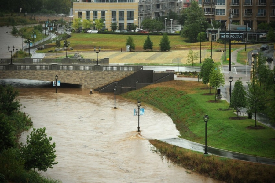 Rains flooded Charlotte's Little Sugar Creek on Aug. 5, including parts of the new greenway.