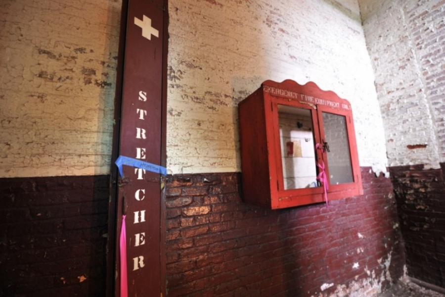 A first aid stretcher and fire box, present on every staircase landing, will be preserved. Photo: Nancy Pierce