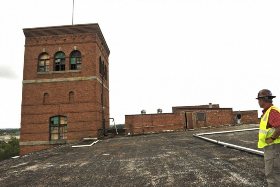 This part of the Loray Mill roof will be a tapas bar. Photo Nancy Pierce