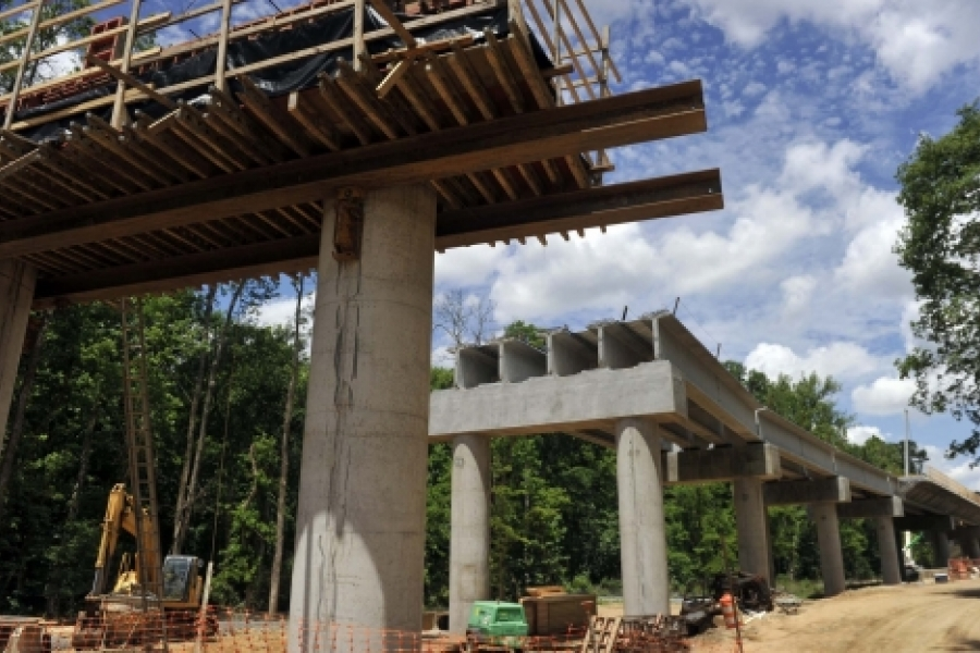 The longest bridge of the whole 9.3-mile Blue Line Extension will be this one over Toby Creek on the UNC Charlotte campus. The BLE will terminate in a station near the Student Union. Photo: Nancy Pierce