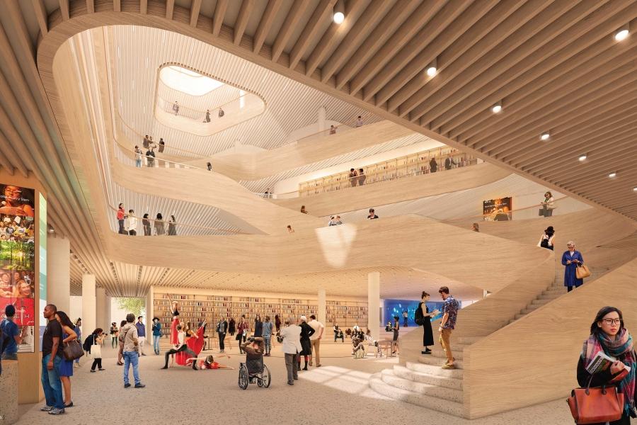 Charlotte new main library lobby rendering