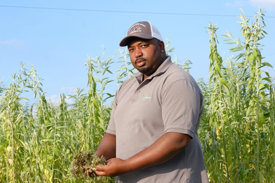 Davon Goodwin is manager of Sandhills AGInnovation Center in Ellerbee, NC  Behind him is a hemp cover crop. Photo: Nancy Pierce
