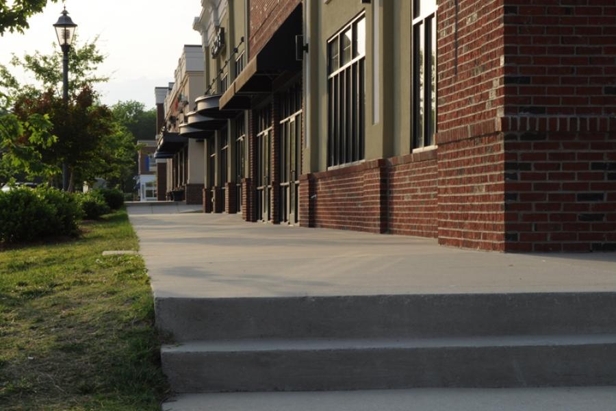 A sidewalk view along Main St. in Harrisburg Town Center