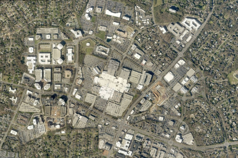 SouthPark mall and its surroundings today. Photo: Mecklenburg County GIS.