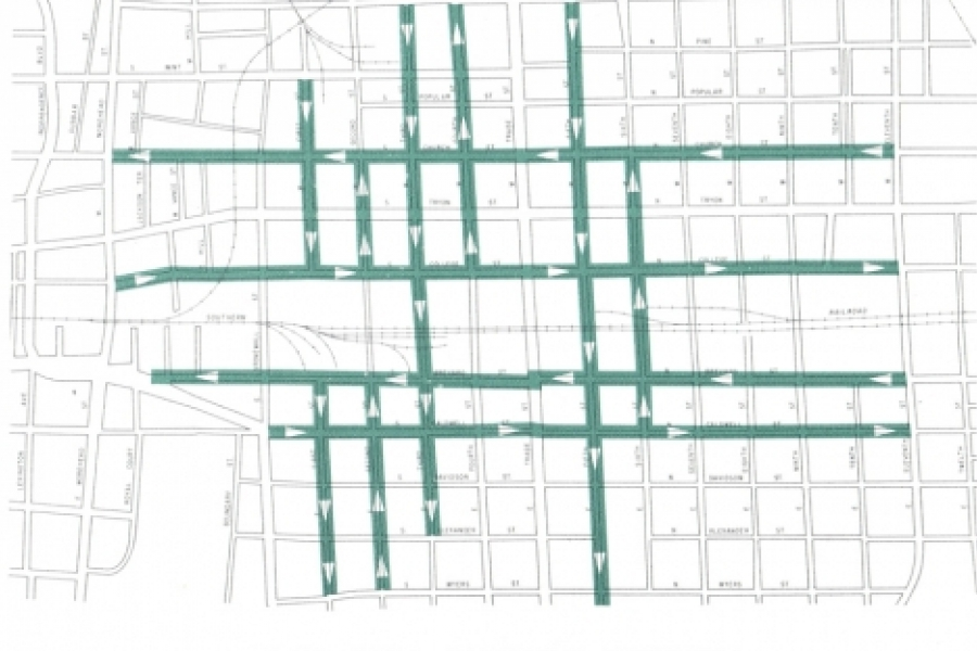 One-way street plan from 1960 Transportation Plan was mostly implemented; today two-way streets are favored.